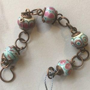 Handcrafted Copper n Lampwork Glass Link Bracelet.